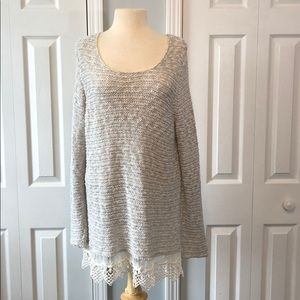 Vanity gray and white open knit long sweater